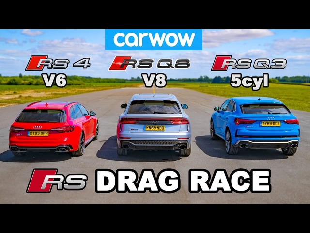 <em>Audi</em> RSQ8 vs RS4 vs RSQ3: DRAG RACE *V8 vs V6 vs 5cyl*