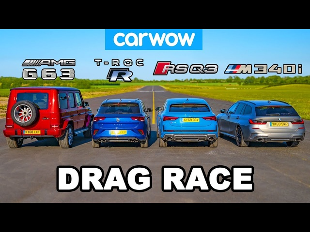 BMW M340i vs AMG G63 v <em>Audi</em> RSQ3 vs VW T-Roc R: DRAG RACE
