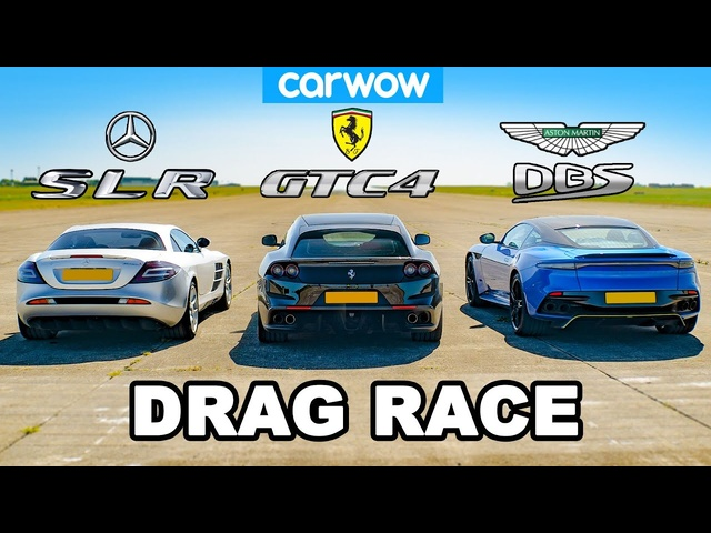 Mercedes SLR McLaren vs <em>Ferrari</em> GTC4 vs Aston DBS: DRAG RACE