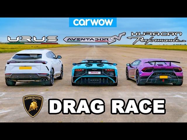 Lamborghini Urus v Aventador v Huracan: DRAG RACE!