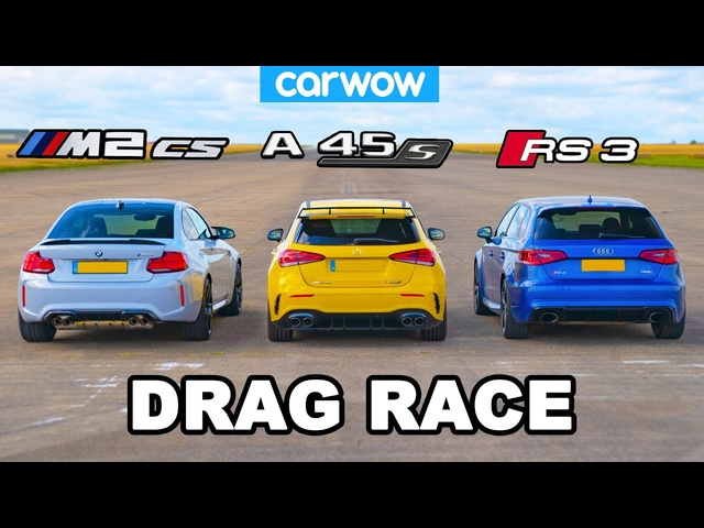 New BMW M2 CS vs AMG A45 S vs Audi RS3: DRAG RACE!