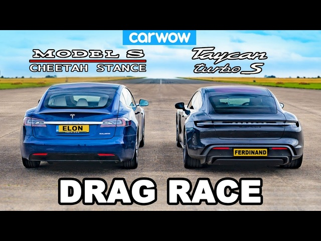 <em>Tesla</em> Model S Cheetah Stance vs Porsche Taycan Turbo S: DRAG RACE!