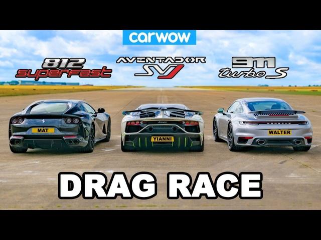 Lamborghini Aventador SVJ v Ferrari 812 v <em>Porsche</em> 911 Turbo S: DRAG RACE