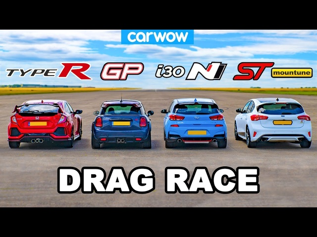 Civic Type R v MINI GP v I30 N v Focus ST - DRAG RACE