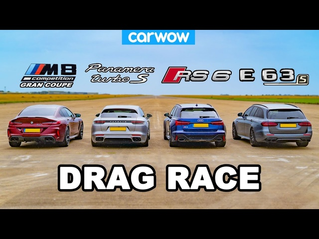 BMW M8 GC v Audi RS6 v AMG E63 S v Porsche Panamera -DRAG RACE