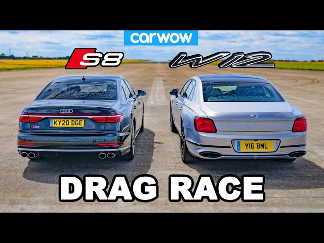 Audi S8 vs Bentley Flying Spur - DRAG RACE *V8 vs W12*