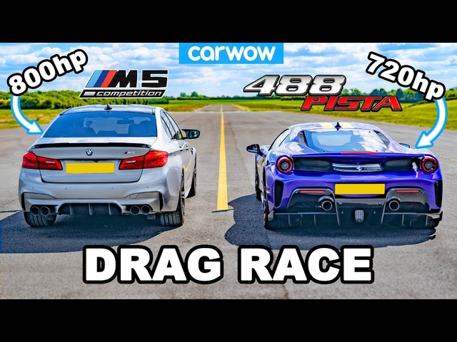 BMW M5 800hp v <em>Ferrari</em> 488 Pista - DRAG RACE