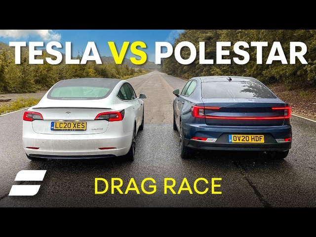 Tesla Model 3 Vs Polestar 2: DRAG RACE (And In REVERSE GEAR) 4K