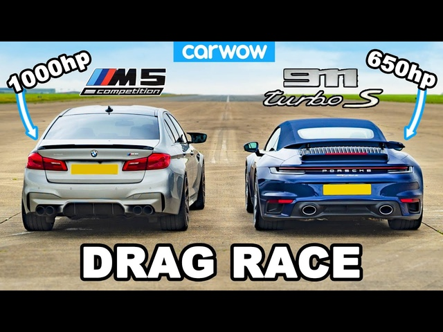 BMW M5 1,000hp vs Porsche 911 Turbo S -DRAG RACE
