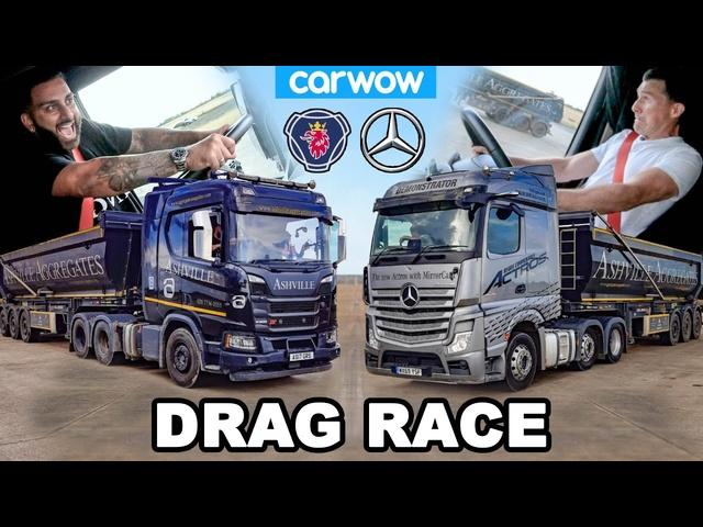 <em>Mercedes</em> Actros vs Scania R500 -DRAG RACE & 44 Ton BRAKE TEST!
