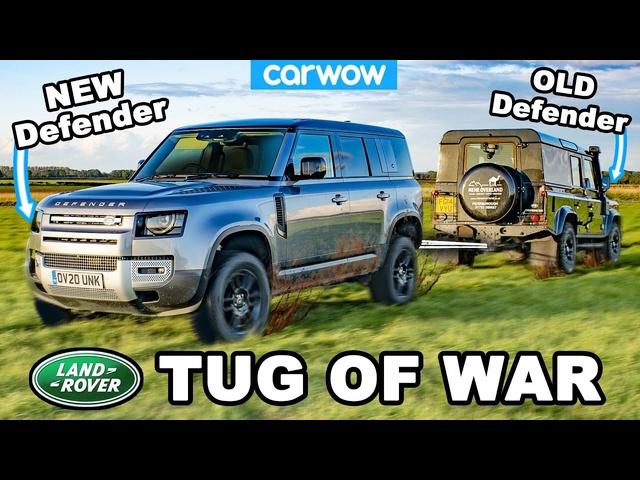 New vs Old Land Rover Defender -TUG OF WAR