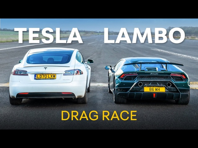 Lamborghini Huracan Performante v <em>Tesla</em> Model S Performance - DRAG RACE & 0-100-0 RACE