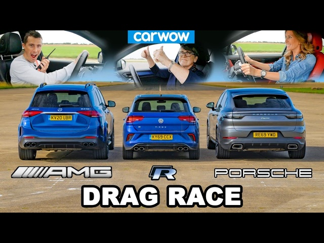 AMG GLE 53 v Porsche Cayenne Coupe v VW T-Roc R - DRAG RACE *Mat v Mum v Girlfriend*