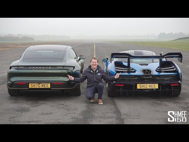<em>Porsche</em> Taycan Turbo S vs McLaren Senna | DRAG RACE