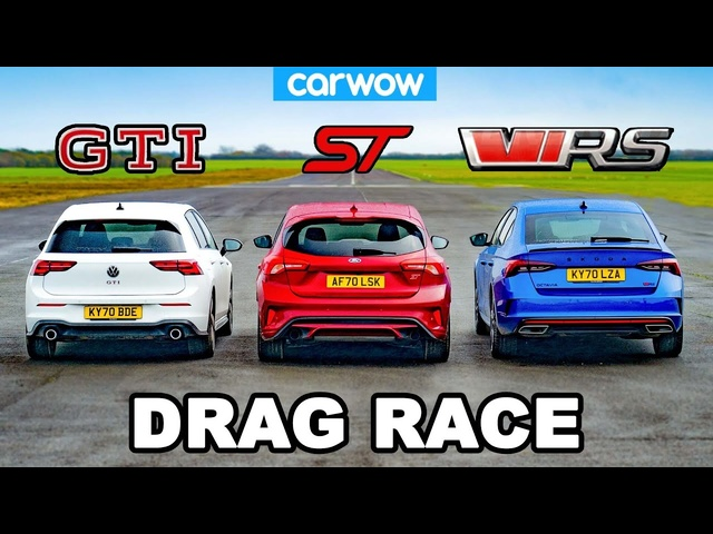 VW Golf GTI v Ford Focus ST v Skoda Octavia vRS - DRAG RACE