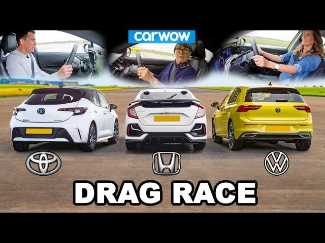 VW Golf v Toyota Corolla v <em>Honda</em> Civic - DRAG RACE *Mat v Mum v Girlfriend*