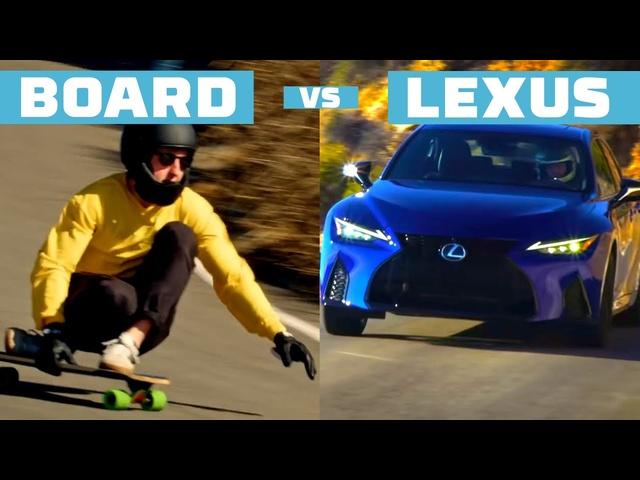 2021 Lexus IS races Pro Longboarder in Downhill Duel