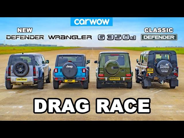 <em>Mercedes</em> G350 vs Jeep vs NEW & OLD Defender: DRAG RACE!