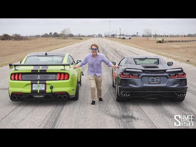 Can the Corvette C8 Beat My <em>Shelby</em> GT500 in a Drag Race?