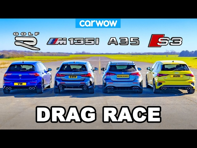 VW Golf R v BMW M135i v Audi S3 v AMG A35: DRAG RACE