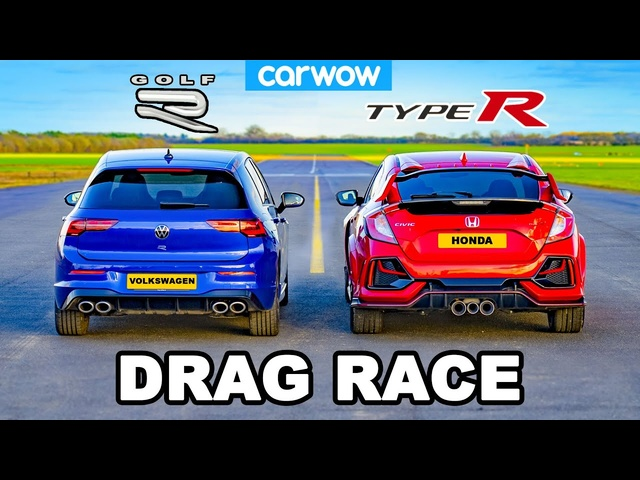 VW Golf R v Civic Type R -DRAG RACE
