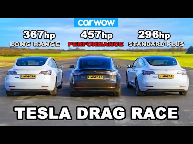 Tesla Model 3 DRAG RACE *Performance v Long Range v Standard Plus*