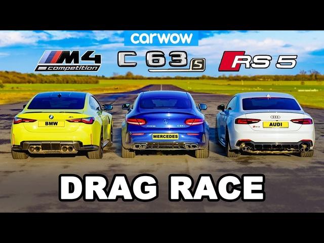 <em>BMW</em> M4 v AMG C63 v Audi RS5 -DRAG RACE