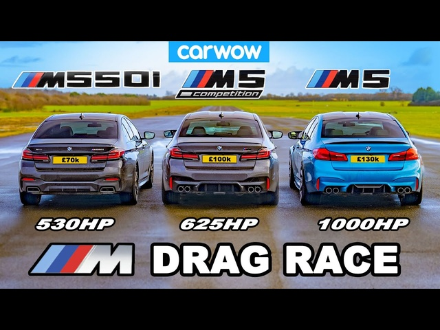 BMW M5 1000hp v M5 Comp v M550i - DRAG RACE