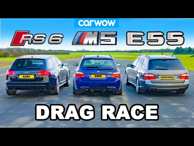 <em>BMW</em> M5 V10 vs AMG E55 vs Audi RS6: DRAG RACE *NA vs Turbo vs Supercharged*