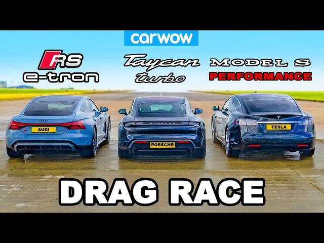 Audi RS e-tron GT v <em>Porsche</em> Taycan v Tesla Model S: DRAG RACE