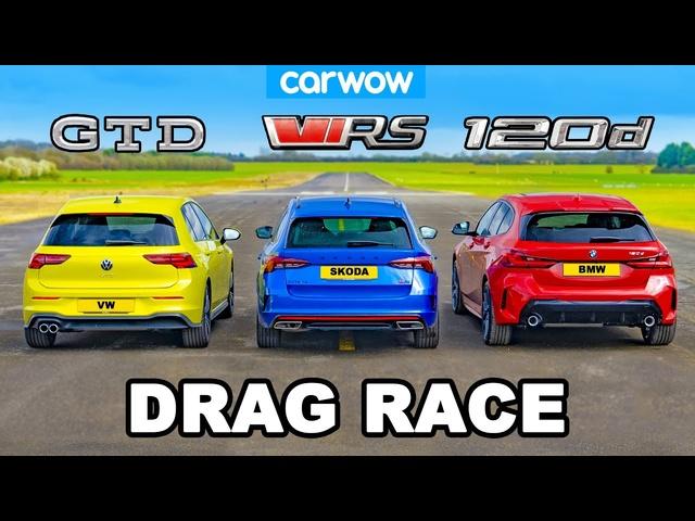 VW Golf GTD v <em>BMW</em> 120d v Skoda Octavia vRS: DRAG RACE