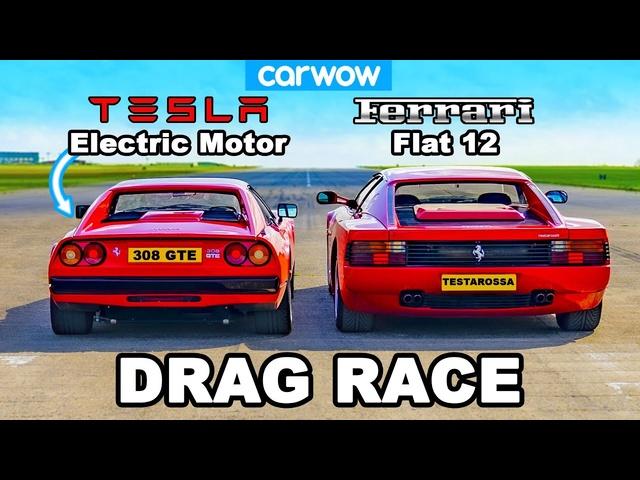 Tesla-powered Ferrari 308 GTS v Ferrari Testarossa: DRAG RACE