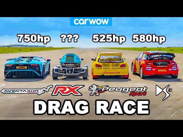 Lamborghini Aventador SV vs £1M Rallycross Racers: DRAG RACE