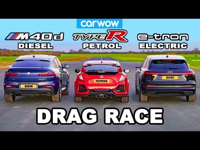 <em>BMW</em> X4 M40d v Civic Type R v Audi e-tron: DRAG RACE *Diesel v Petrol v Electric*