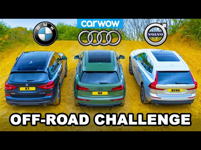 <em>BMW</em> X3 v Audi Q5 v Volvo XC60: UP-HILL DRAG RACE & which is best OFF-ROAD!