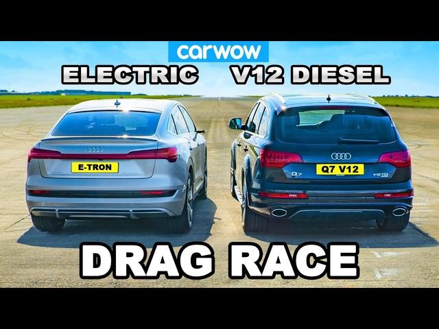 V12 Audi Q7 v Audi e-tron: DRAG RACE *Diesel vs Electric*
