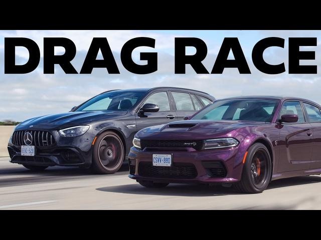 Hellcat GAPPED by Mercedes Wagon DRAG RACE #shorts