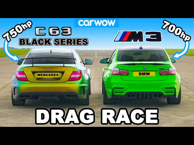 750hp AMG C63 Black Series v 700hp <em>BMW</em> M3: DRAG RACE 1/4, 1/2 and 1-MILE!