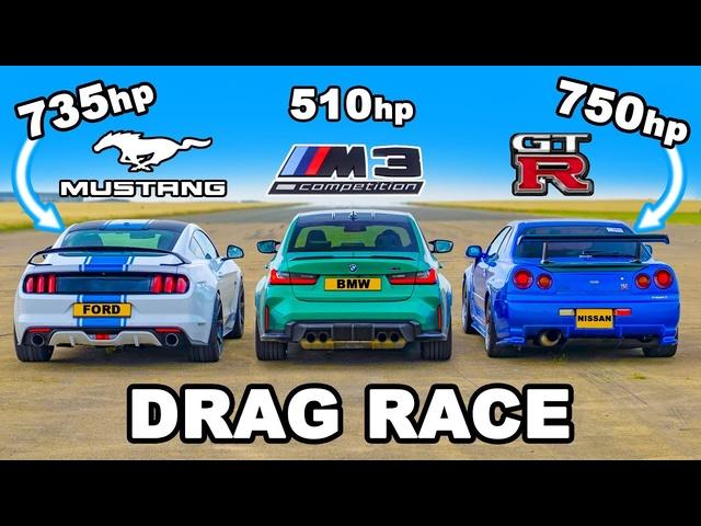 750hp Nissan Skyline R34 GT-R v 735hp Mustang v <em>BMW</em> M3: DRAG RACE
