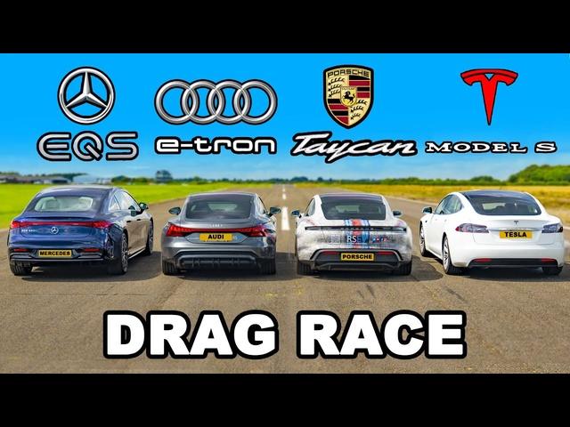 Mercedes EQS v e-tron GT v Taycan 4 v Model S: DRAG RACE