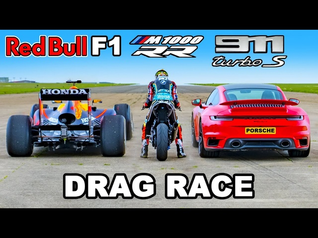 F1 Car v <em>BMW</em> M1000 RR Superbike v 911 Turbo S: DRAG RACE