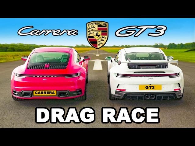 Porsche 911 GT3 v Carrera: Race v Base DRAG RACE