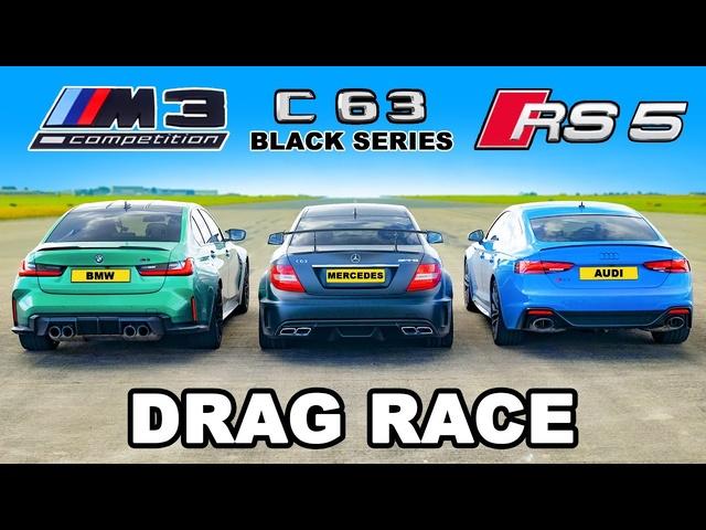 <em>BMW</em> M3 v Audi RS5 v AMG C63 Black Series: DRAG RACE